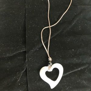 """Chic 20""""leather necklace w/lovely heart pendant"""